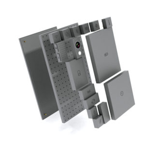 A exploded-view picture of the proposed Phonebloks phone